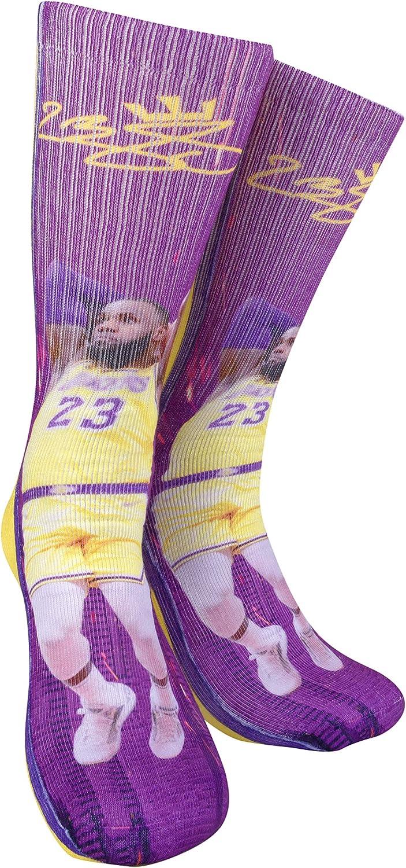 Lebron James #23 Away Basketball Crew Socks Autographed Basketball Fan Gift Fits All Sizes 6-13