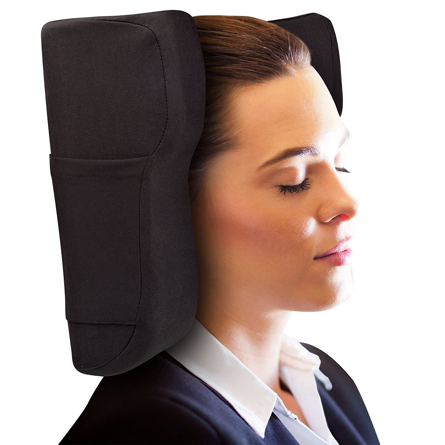 Travel Pillow Designed by Physical Therapist Memory Foam Curve Support Neck Shoulder Head and Spinal Pain Relief World Pillow by Bluestone Posture