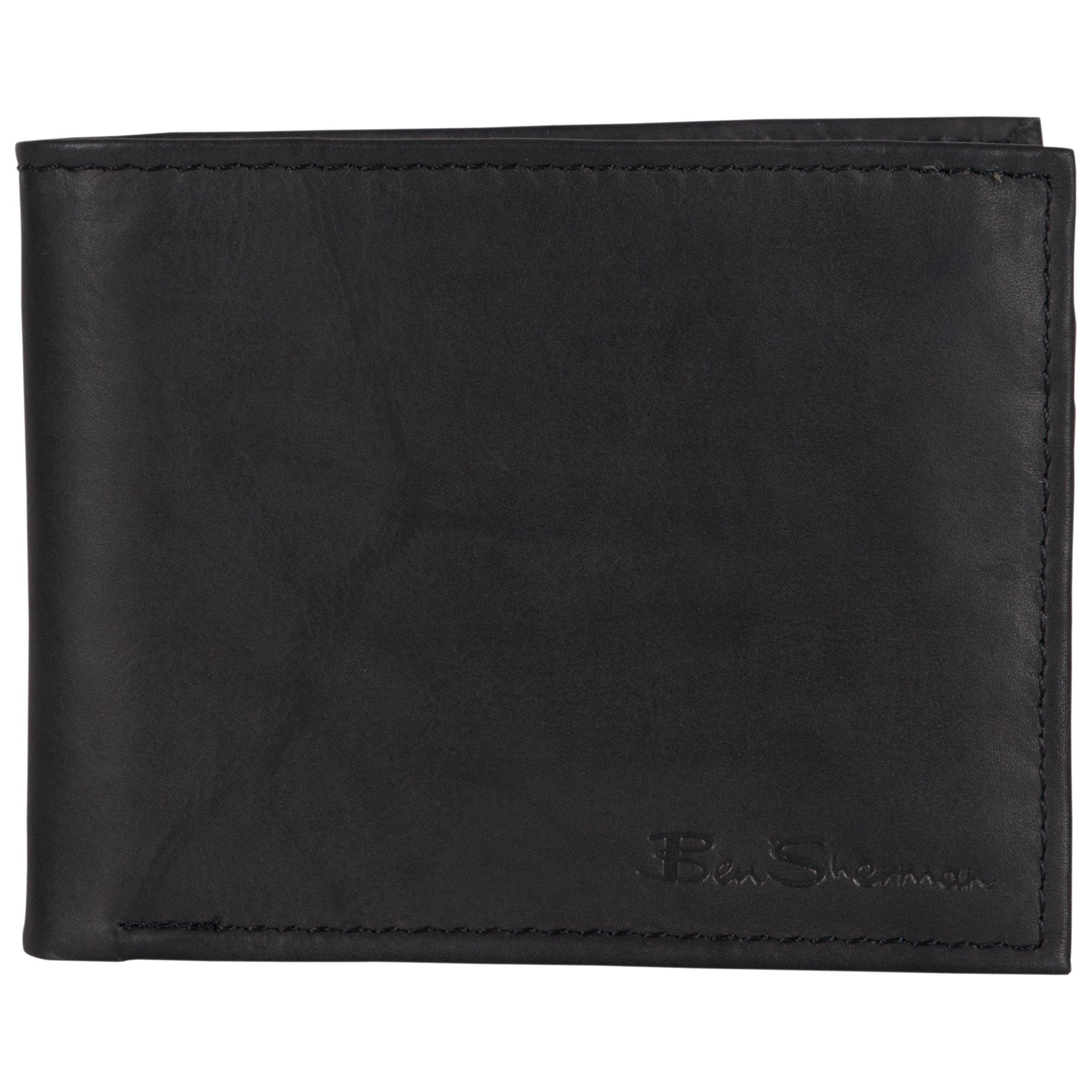 Ben Sherman Men's Leather Five Pocket Bifold Wallet with Id Window (Rfid), Black