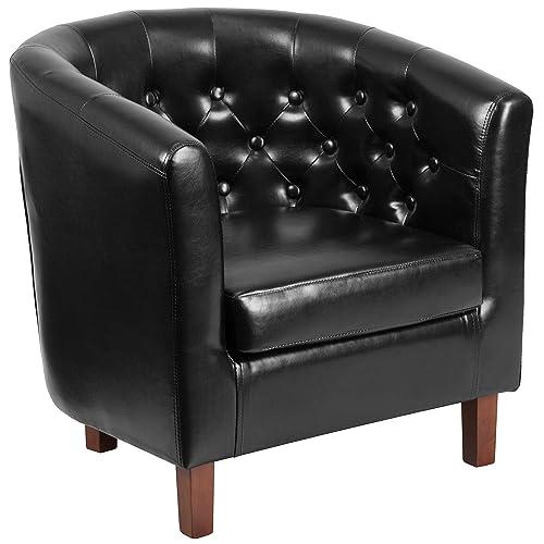 Flash Furniture HERCULES Cranford Series Black Leather Tufted Barrel Chair