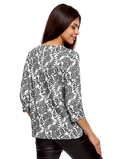 oodji Collection Women's 3/4 Sleeve Blouse With Decorative Zippers:  Amazon.co.uk: Clothing