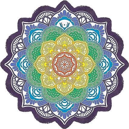 7c374e2a31b71 Fyore Large Round Mandala Tapestry Lotus Flower Printed Yoga Mat Beach  Throw Towel Tassel Wall Hanging Decoration (Purple Tassels): Amazon.ca:  Home & ...