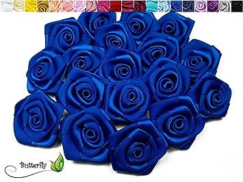 10 Stk Satinrosen 3cm Blaukönigsblau 352 Rosen 30mm Stoffrosen Satin Satinröschen Rosenköpfen Deko Basteln Tischdeko Dekoration Streudeko