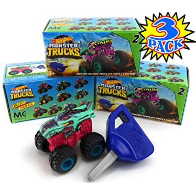 Hot Wheels Monster Trucks Mini Mystery Trucks with Key Launcher Series 2 Blind Box Gift Set Party Bundle - 3 Pack: Toys & Games