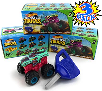 Amazon Com Hot Wheels Monster Trucks Mini Mystery Trucks With Key Launcher Assorted Series Blind Box Gift Set Party Bundle 3 Pack Toys Games