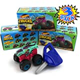 Hot Wheels Monster Trucks Mini Mystery Trucks with Key Launcher (Assorted Series) Blind Box Gift Set Party Bundle - 3…
