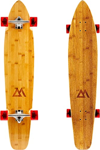 Magneto 44 inch Kicktail Cruiser Longboard Skateboard Bamboo and Hard Maple Deck Made for Adults, Teens, and Kids