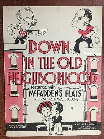 DOWN IN THE OLD NEIGHBORHOOD (1927 William J McKenna SHEET MUSIC