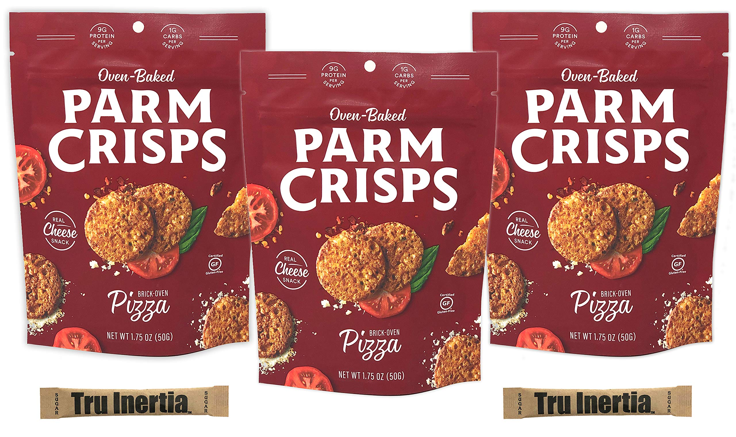 ParmCrisps Brick Oven Pizza Cheese Crisps - Keto Friendly, Gluten Free, 1.75 Ounce Bag Pack of 3 with Tru Inertia Sugar