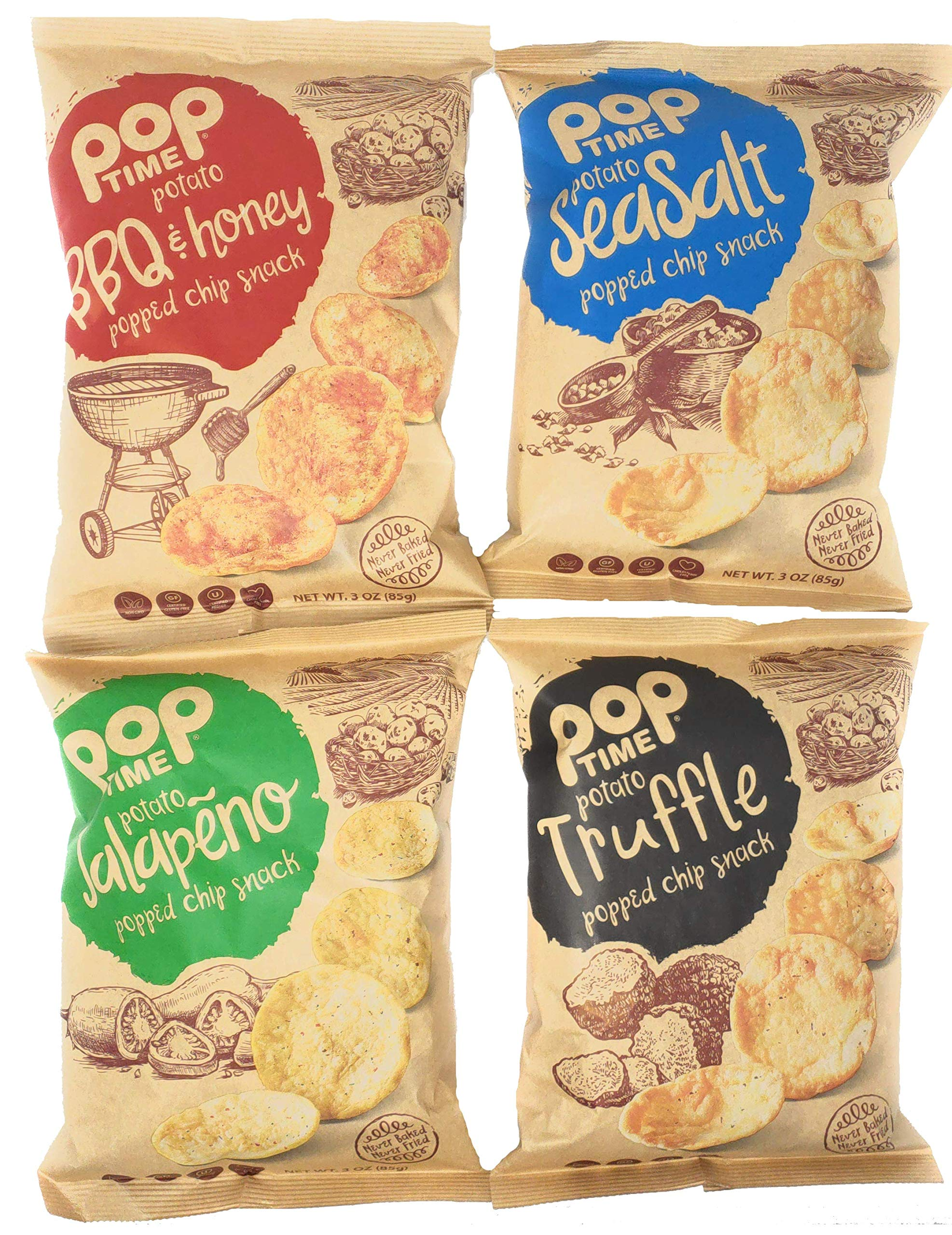 POP TIME Popped Chips, Variety Pack, 4 Count (3 oz Bags) Sea Salt, Honey BBQ, Jalapeno, Truffle - Non-GMO, Preservatives Free, Dairy Free, Nut Free, 0g Trans Fat, Healthy, Natural Ingredients