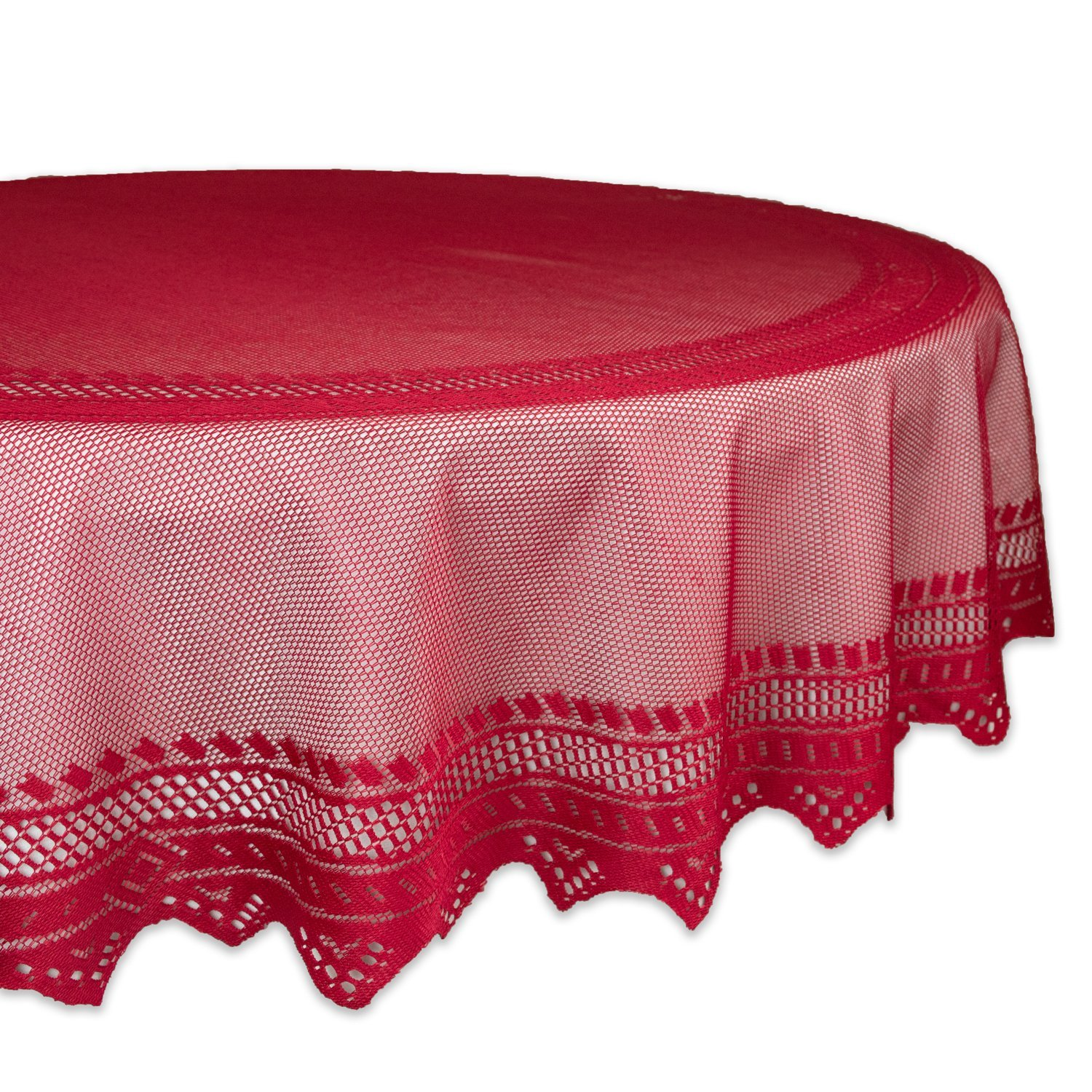 "DII 100% Polyester, Machine Washable, Crochet/Lace Tablecloth, 70"" Round Seats 4 to 6 People, Red"
