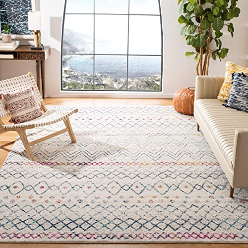 Safavieh Madison Collection MAD798B Moroccan Boho Distressed Area Rug, 9 x 12 , Ivory Navy