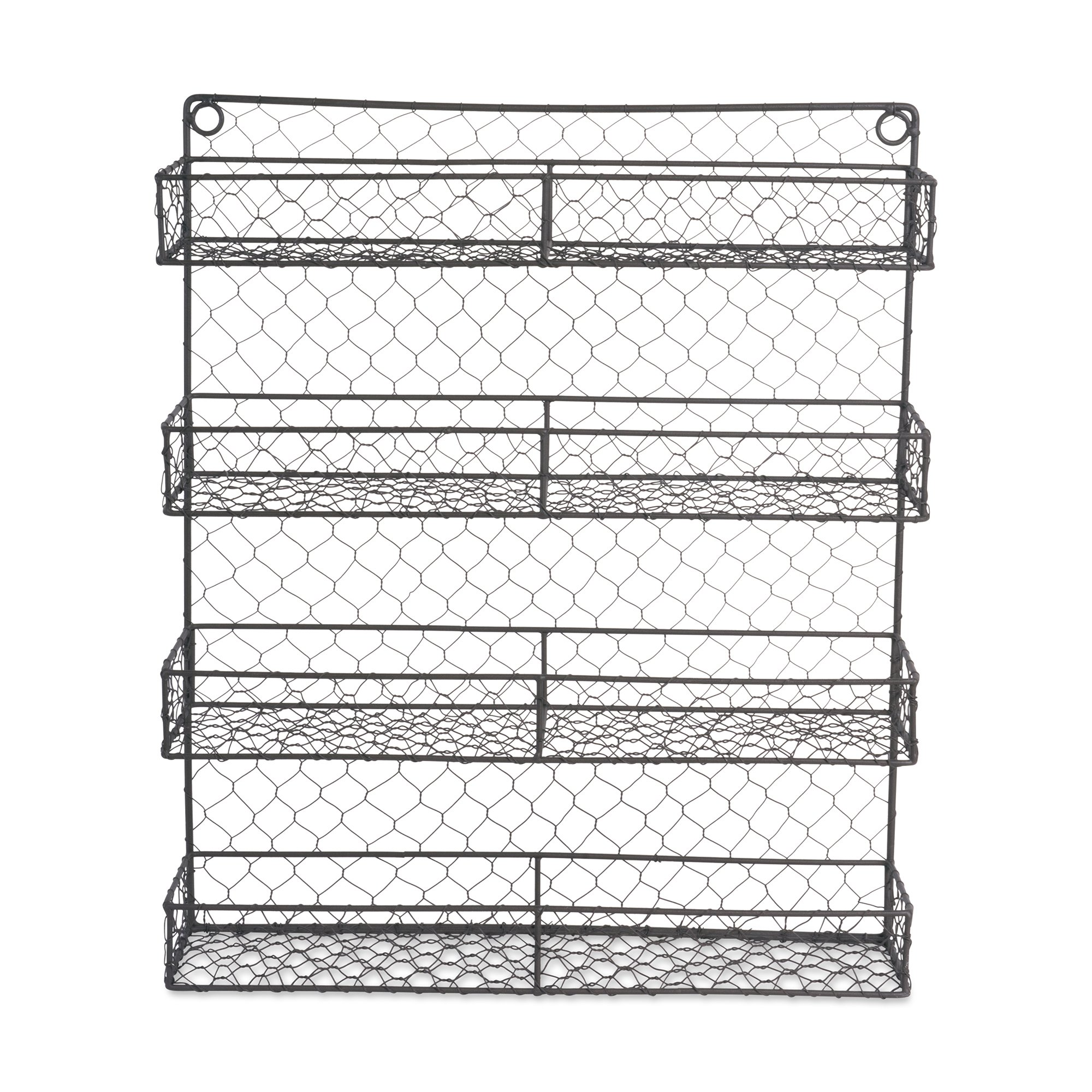 Home Traditions Z01920 Farmhouse Vintage Metal Chicken Wire Spice Rack Organizer for Kitchen Wall, Pantry Or Cabinet, Antique Finish, Large17 x4.75''x20'', 4 Tier Double Shelf Depth Spice Rack-Rustic