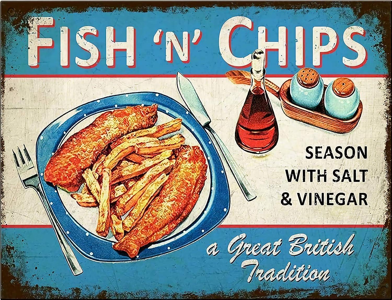 New Metal Poster Fish and Chips Season with Salt & Vinegar Vintage Metal Tin Sign 8x12 Inch Retro Art Home Fast Food Bar Pub Garage Shop Wall Decor Classic Metal Plaque