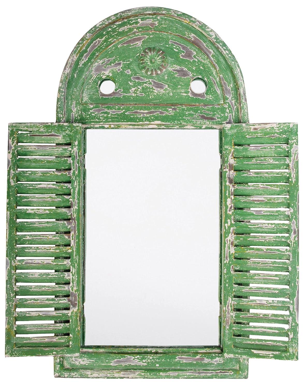 Esschert Design WD12 39 x 5 x 55cm Wood and Glass Mirror Louvre Distressed - Green