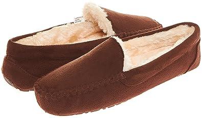 Floopi Womens Indoor Outdoor Fuax Fur Lined Moccasin Slipper W/Memory Foam  (S,