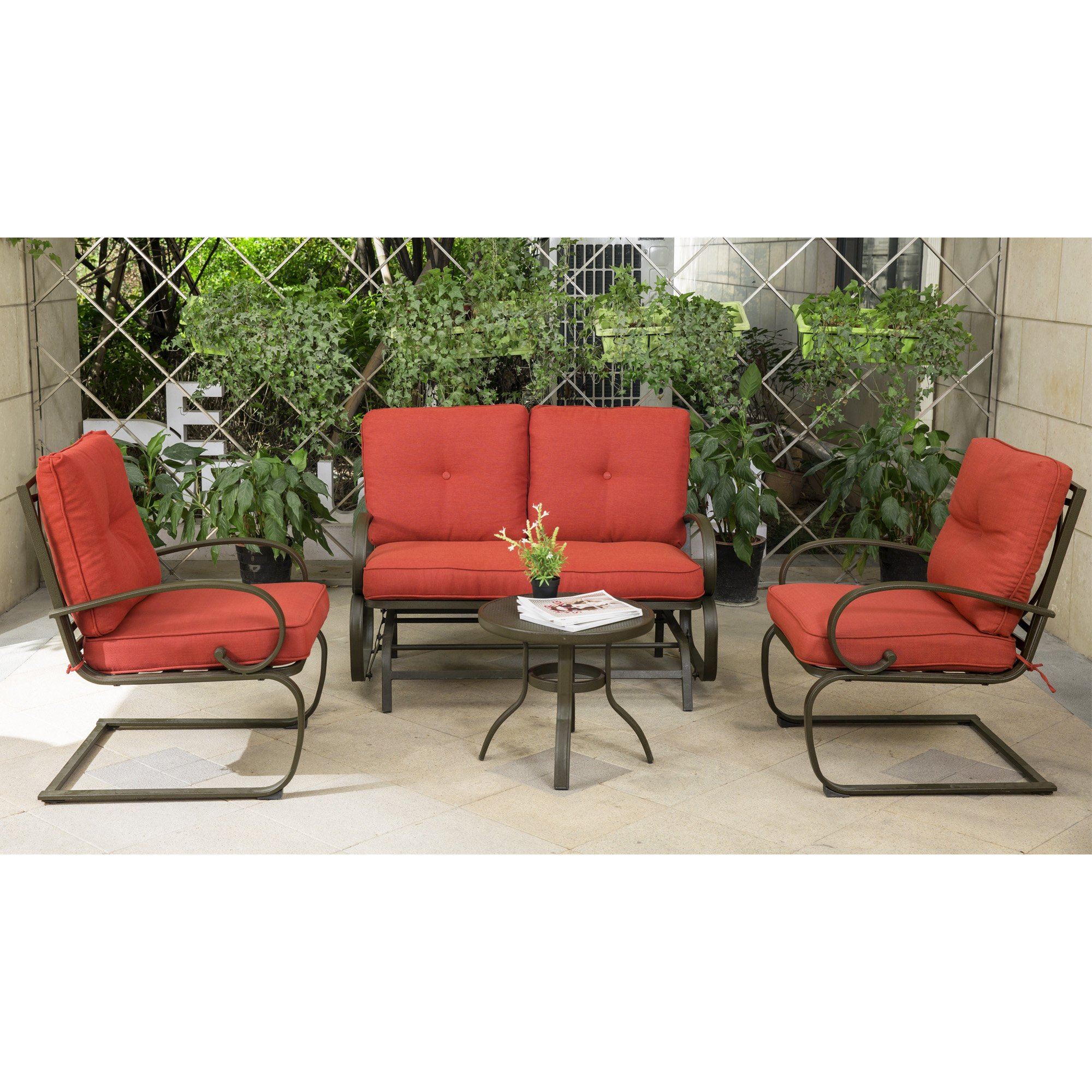 Cloud Mountain 4 Piece Cushioned Outdoor Furniture Garden Patio Conversation Set, Wrought Iron Coffee Table Loveseat Sofa 2 Chairs (Patio Conversation Set 3, Brick Red)