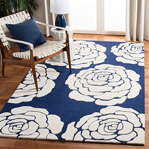Safavieh Cambridge Collection CAM782M Handcrafted Moroccan Geometric Navy and Ivory Premium Wool Area Rug 8' x 10'
