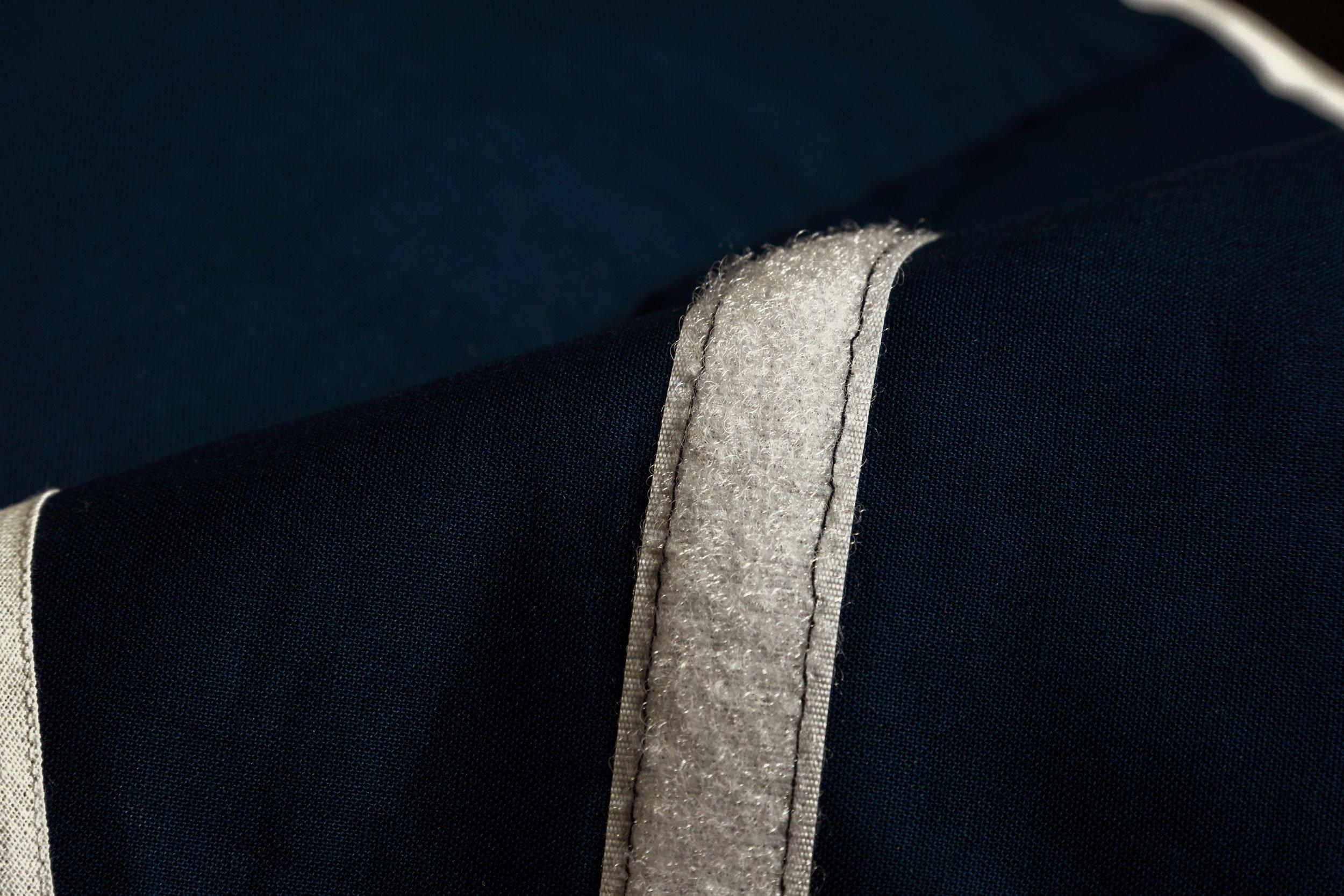 R/ückenkissen K/örnerkissen Bio-Stoff blau-wei/ß Bio-Dinkelkissen W/ärmekissen G/ürtel mit Klettverschluss 135cm 7-Kammer ca