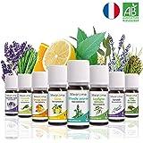 8 x 10 ml Huiles essentielles BIO + guide d'aromathérapie ♦ AB HEBBD - HECT - Qualité et Fabrication FRANCAISE ♦ coffret kit pour aromathérapie & diffuseur