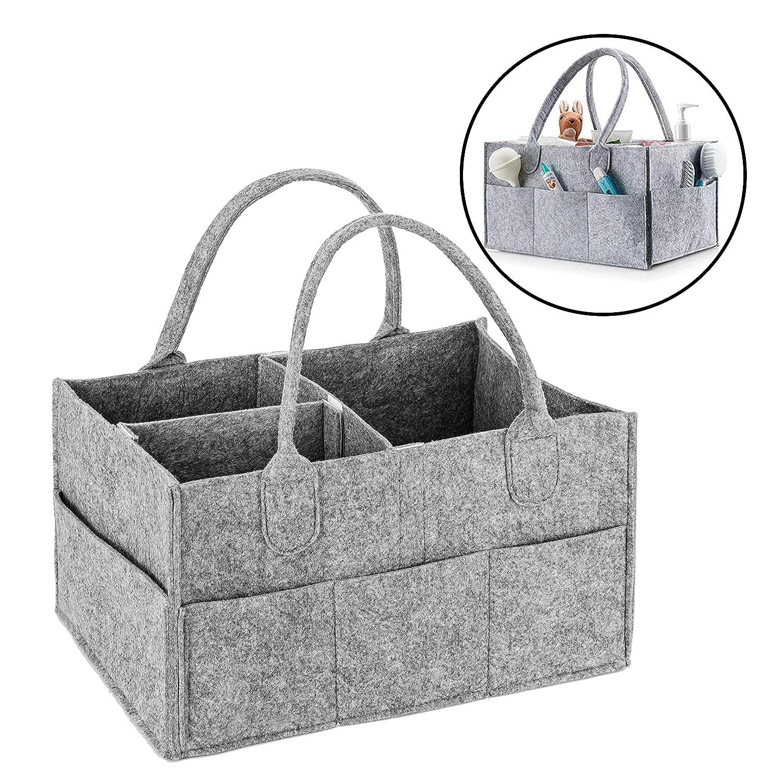 34.5cm x 23cm x 18cm Portable Car Travel Nappy Basket Baby Diaper Caddy Organizer Nappy Bag-Baby Gift Basket Nursery Tote for Mom /& Newborn Kid - Nappy Storage Organiser with 11 Compartments