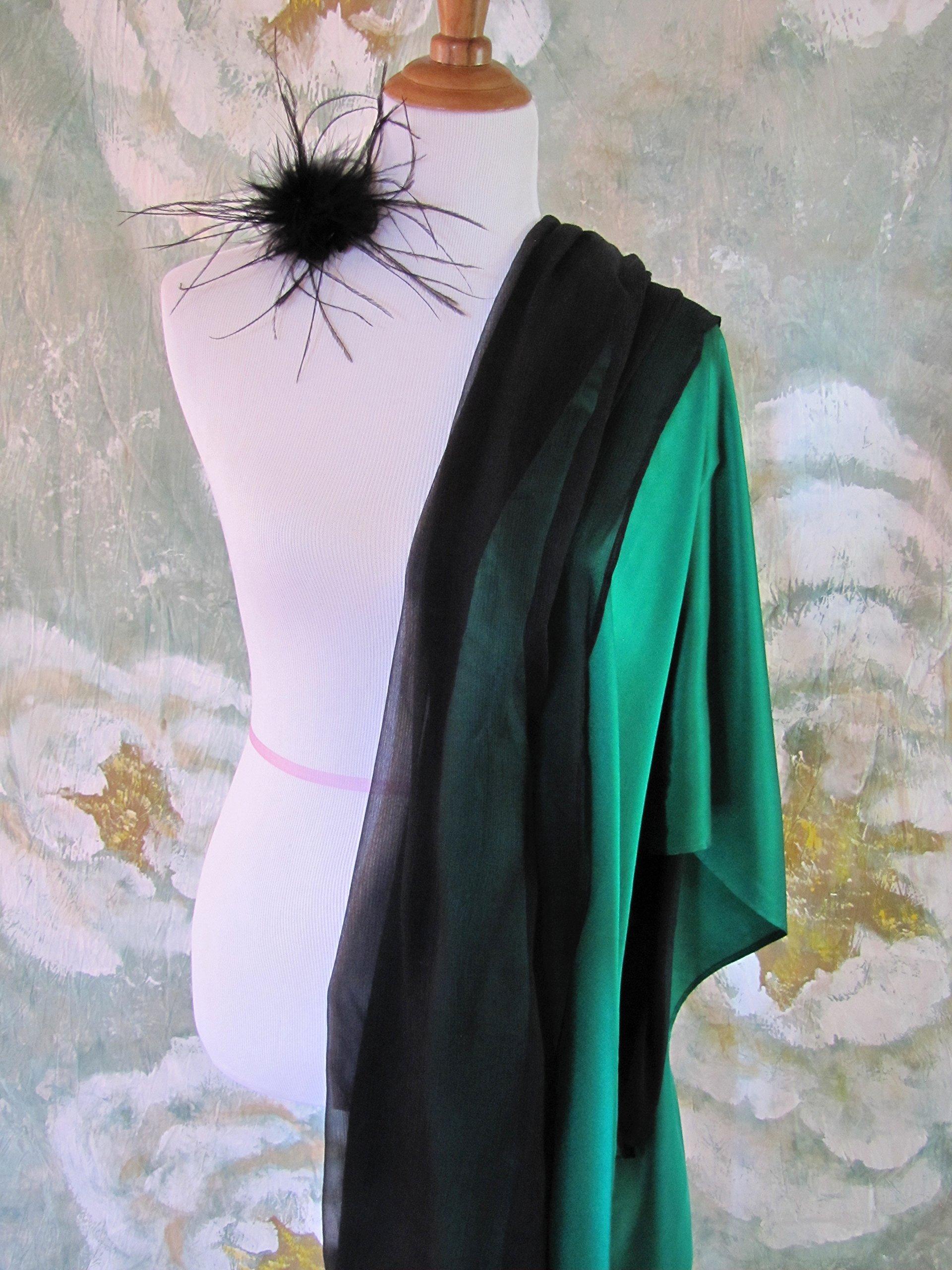 Silk Evening Wrap, Silk Shawl, Two-tone Kelly Green and Black, Silk Scarf, Evening Shawl, Handmade