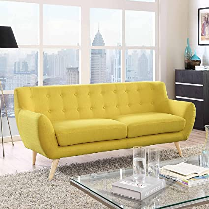 Stylish Button Tufted Sofa With Natural Color Rubber Wood Dowel Legs,  Non Marking Foot