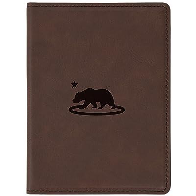 "California Flag Brown Leather Passport Holder - Laser Etched Design - 4 X 5.5"" Engraved Passport Holder For Women And Men"