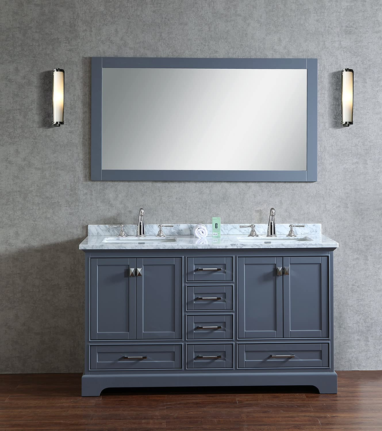 Stufurhome Chanel Grey 60 inch Double Sink Bathroom Vanity with Mirror new