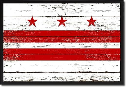 Washington DC Flag Canvas Print Black Picture Frame