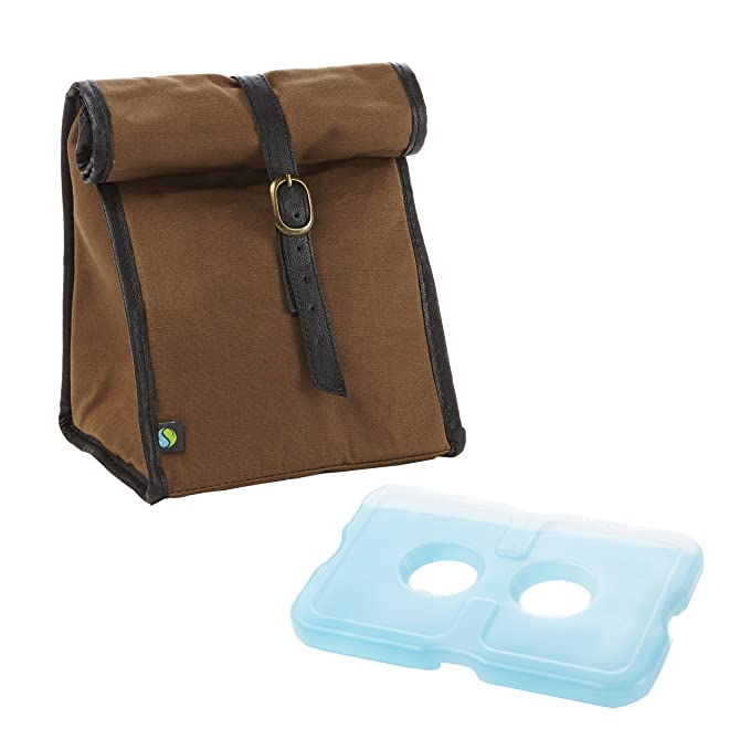 Fit & Fresh Men's Classic Roll Top Insulated Lunch Bag with Ice Pack, Dark Brown