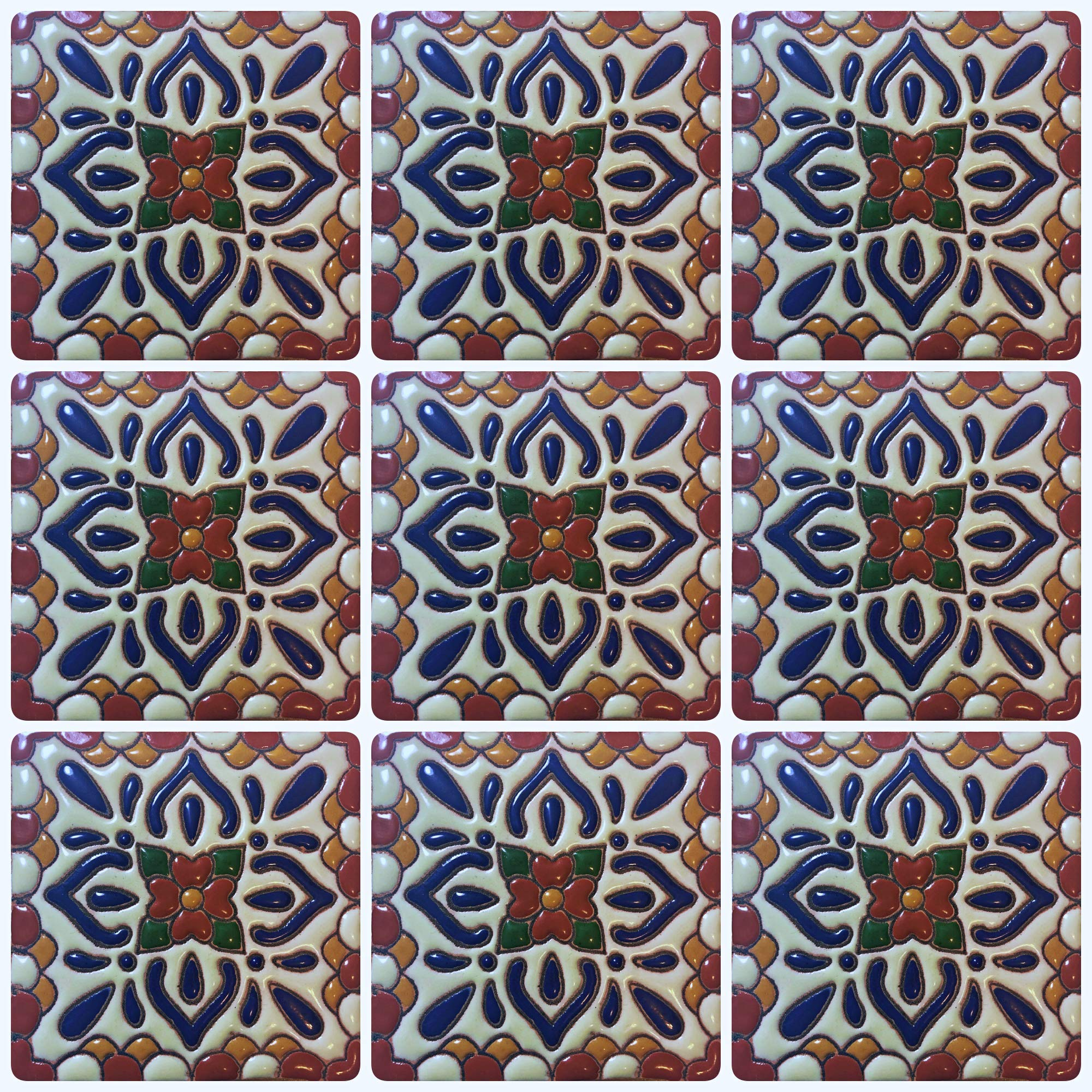 Ceramic High Relief Talavera Mexican Tile 4x4'', 9 Pieces (NOT Stickers) A1 Export Quality! - CR