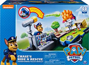 Paw Patrol 6052626 Chase's Ride 'n' Rescue, Transforming 2-in-1 Playset and Police Cruiser, for Kids Aged 3 and Up, Multicolor
