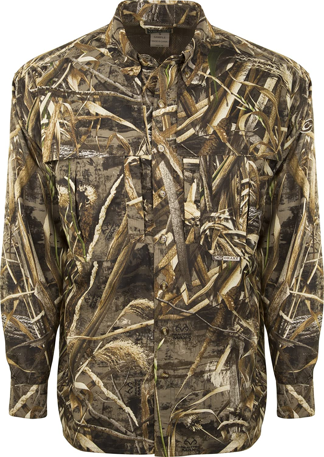 Drake EST Camo Flyweight Wingshooters Shirt with Mesh Back Long Sleeve Bottomland, Small
