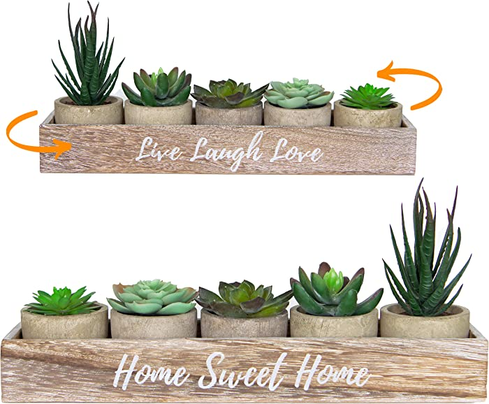5 Artificial Succulent Plants with Pots with Rustic Planter Box – Home Sweet Home & Live Laugh Love | Realistic Greenery Mini Faux Plant Arrangements For Home Decor Office (Grey, With Box)