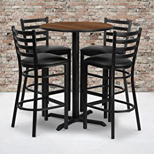 Flash Furniture 30'' Round Walnut Laminate Table Set with X-Base and 4 Ladder Back Metal Barstools - Black Vinyl Seat