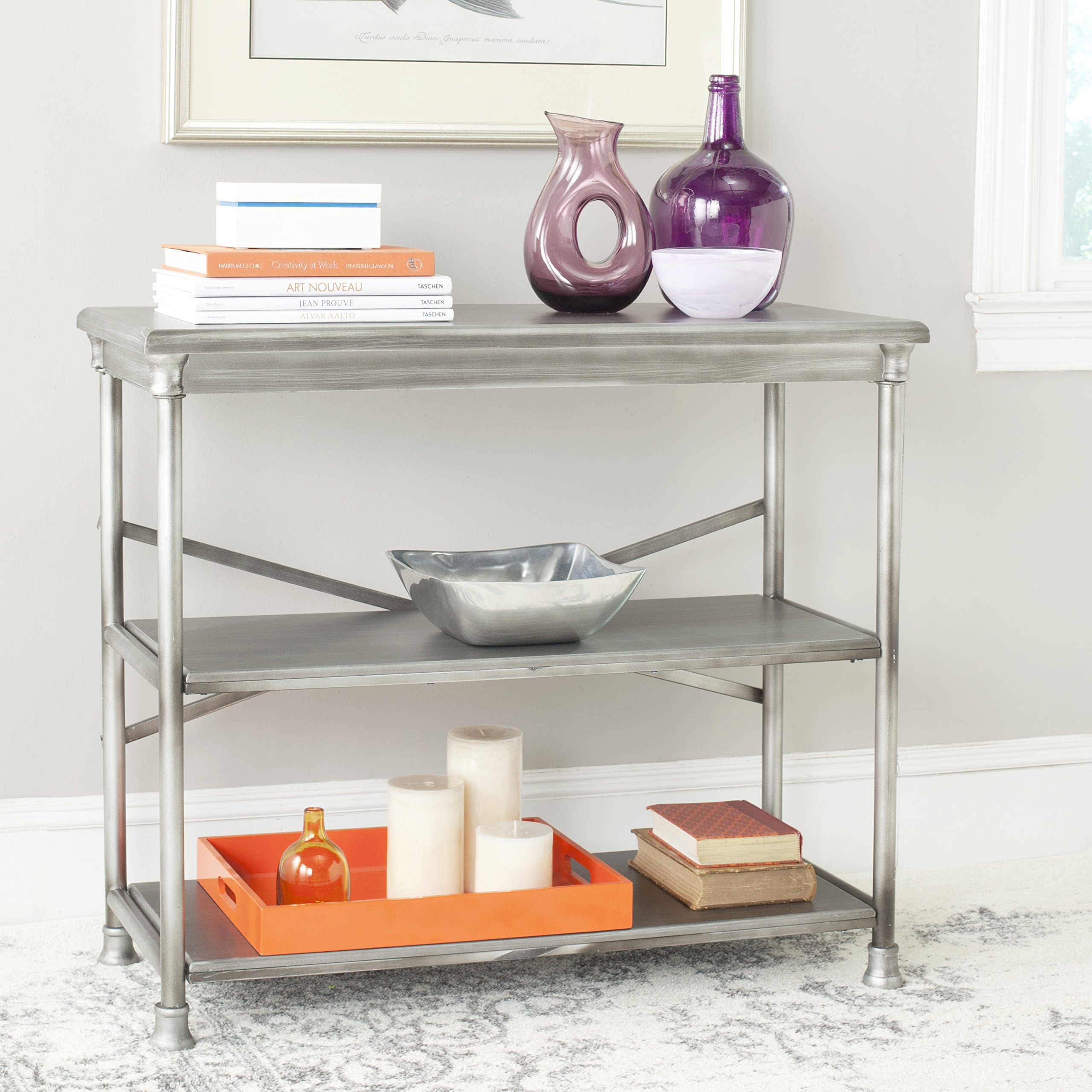 Safavieh American Homes Collection Jacinda Medium Bookcase, Dark Silver