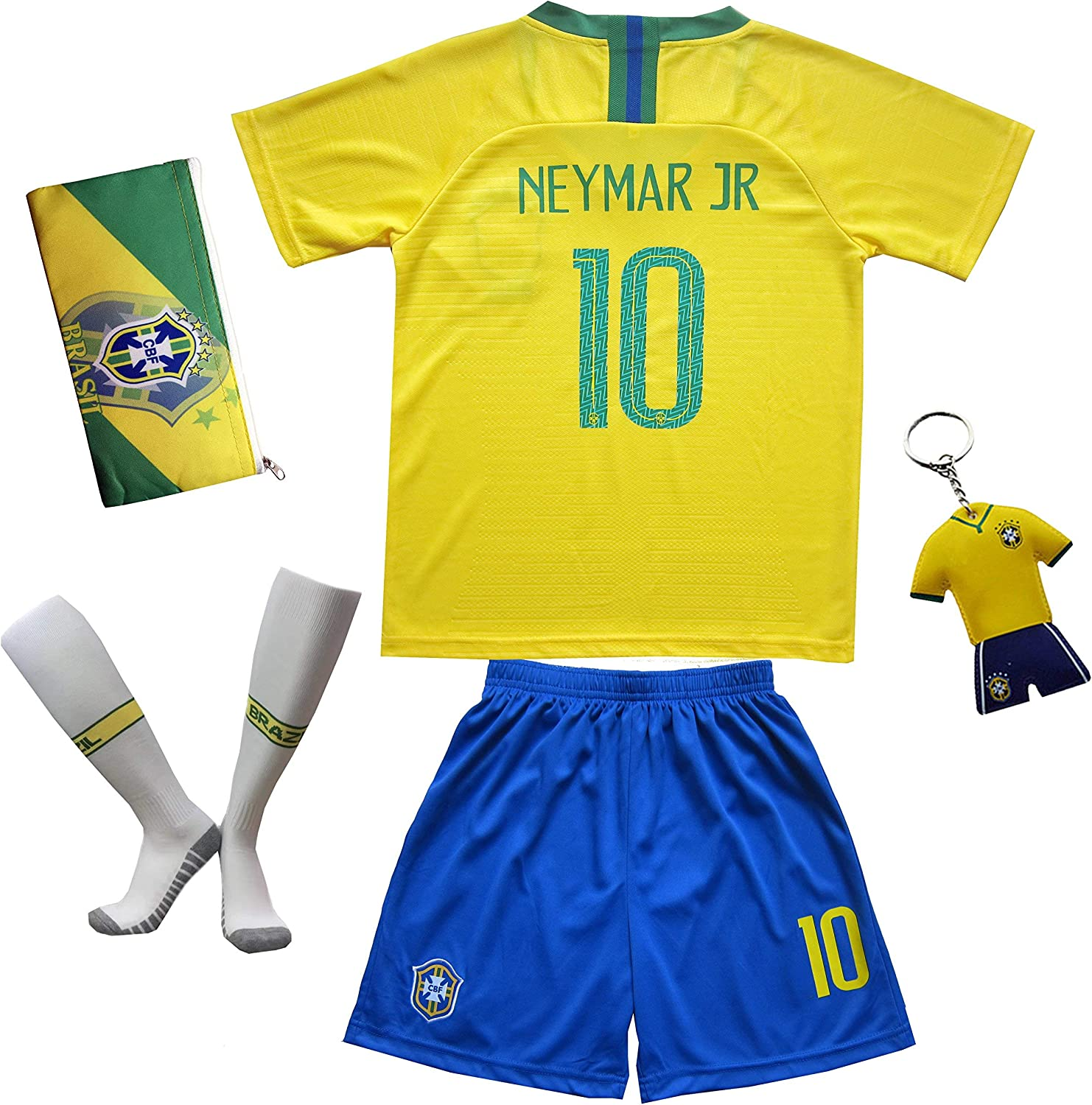 KID BOX Brazil #10 Kids Home Soccer Jerseys/Shorts Socks Gift Set Youth Sizes