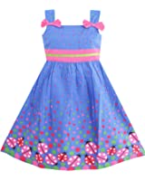 Sunny Fashion Girls' Dress Blue Bug Pink Dot