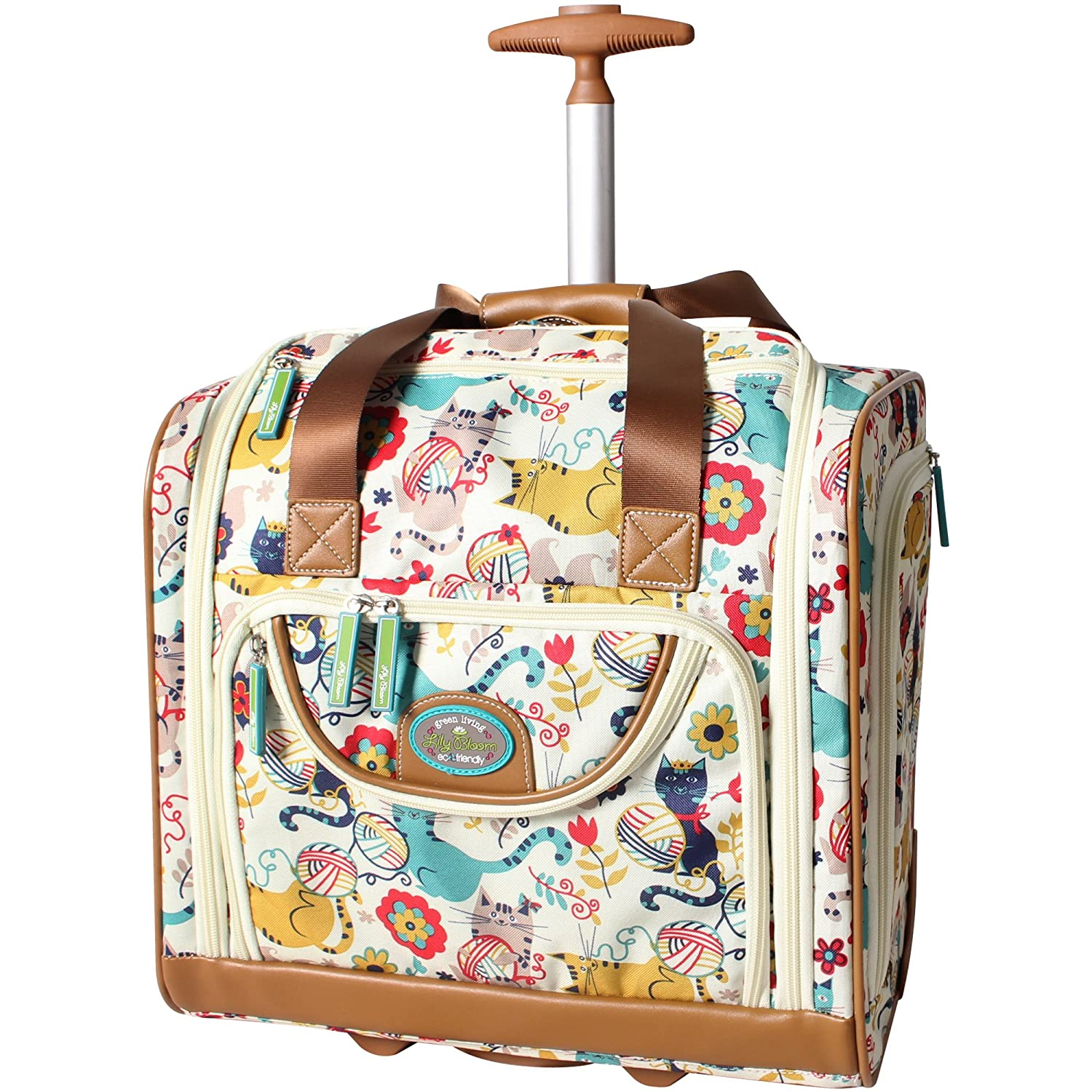 Lily Bloom Under the Seat Design Pattern Carry on Bag With Wheels (One Size, Furry Friend-2)