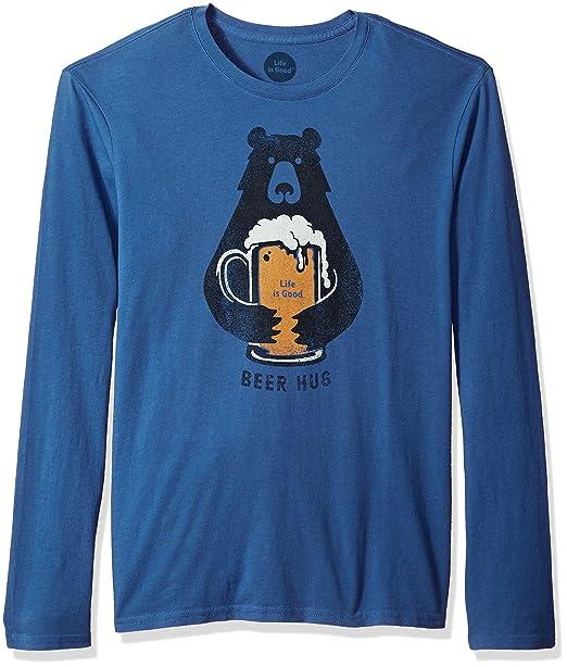 Life is Good Men's Long Sleeve Smooth Tee Beer Hug Vtgblu T-Shirt,