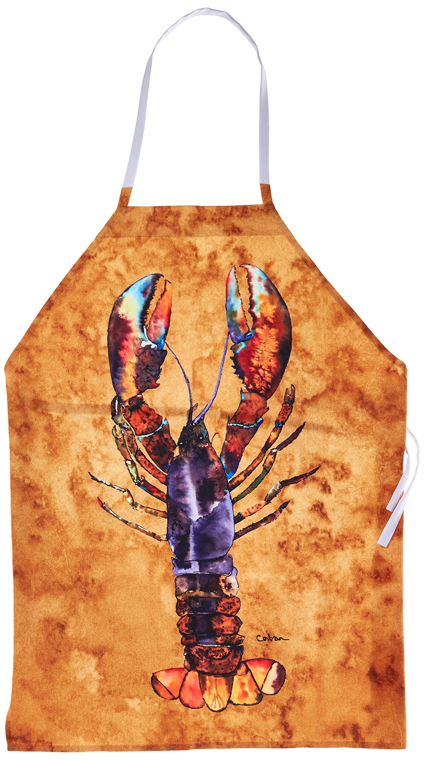 Multicolor 3.5 H x 3.5 W Carolines Treasures BB1015-BL-OR-FC Lobster Burlap and Orange Foam Coasters Set of 4