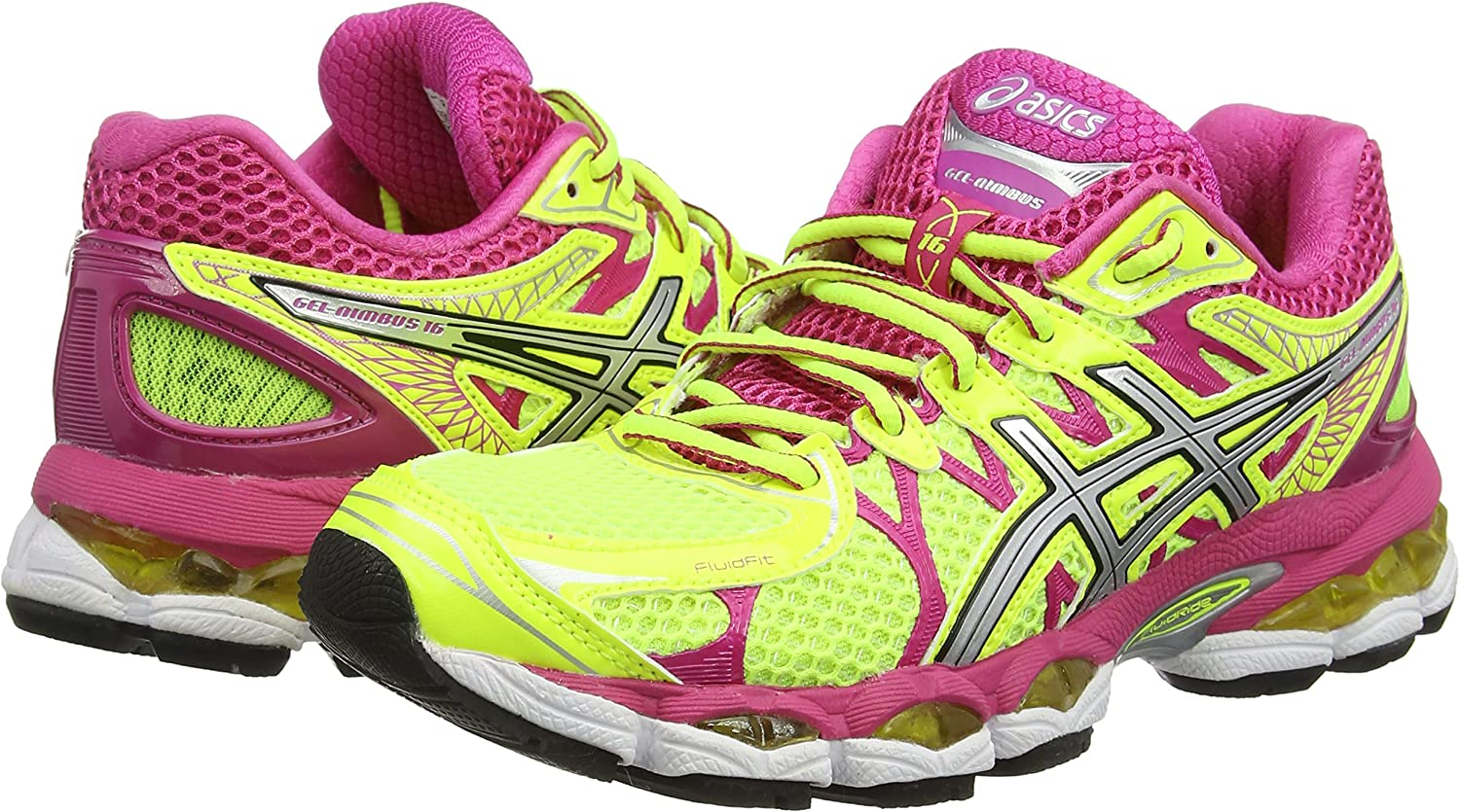 ASICS Gel-Nimbus 16 - Zapatillas de deporte para mujer, color amarillo (Flash Yellow / Silver / Hot Pink 793), talla 36 EU: Amazon.es: Zapatos y complementos