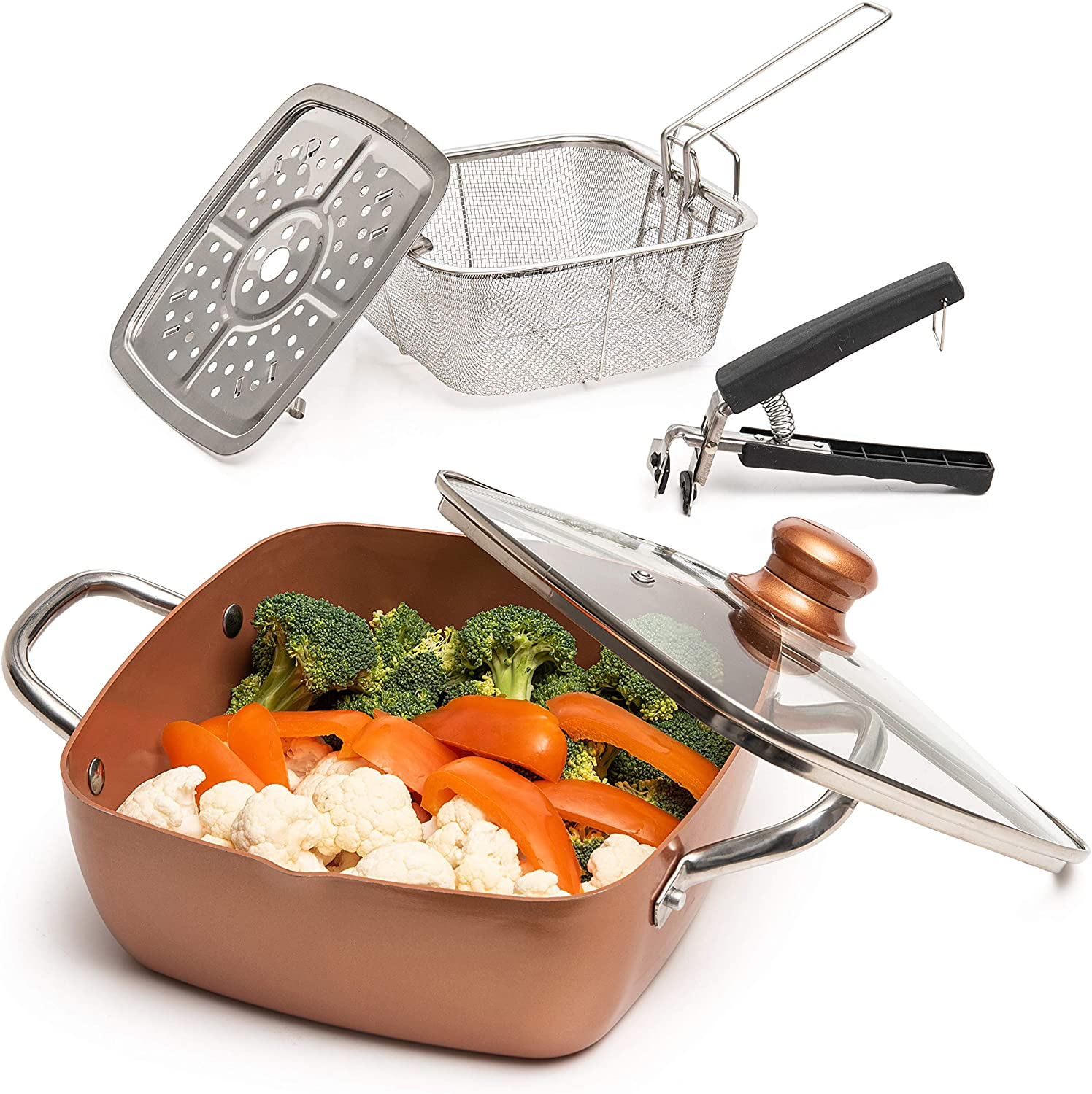 Moss & Stone Copper 5 Piece Set Chef Cookware, Non Stick Pan, Deep Square Pan, Fry Basket, Steamer Rack, Dishwasher & Oven Safe, 5 Quart