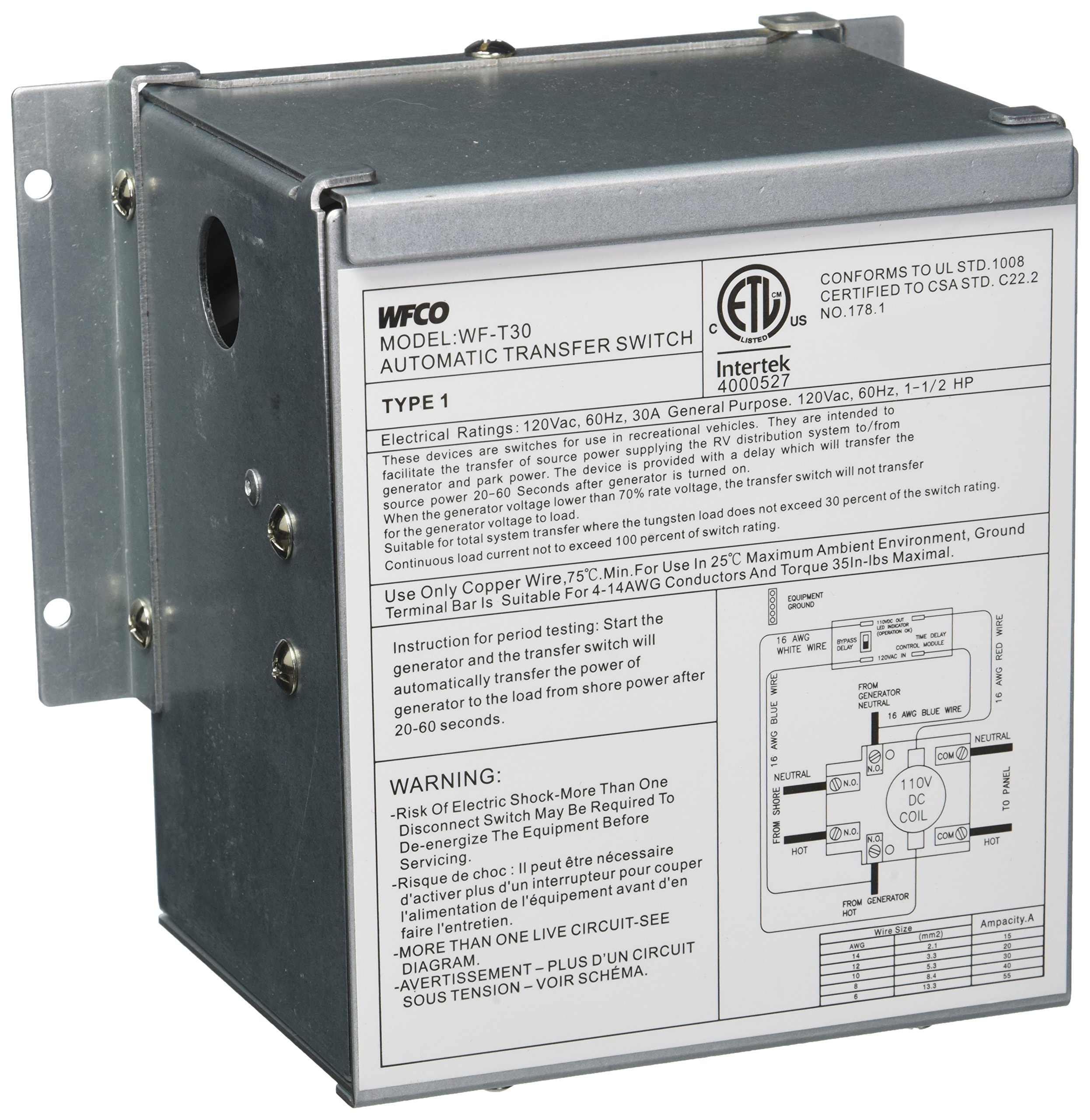 WFCO T30WM 30 Amp Transfer Switch by WFCO