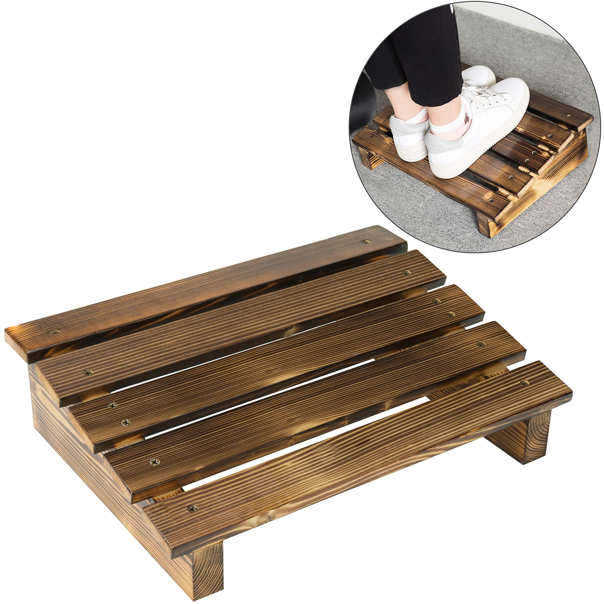 MyGift 15-Inch Burnt Wood Ergonomic Under-Desk Footrest