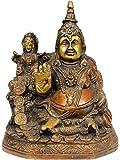 Exotic India Lord Kubera and Goddess Lakshmi - Brass Statue