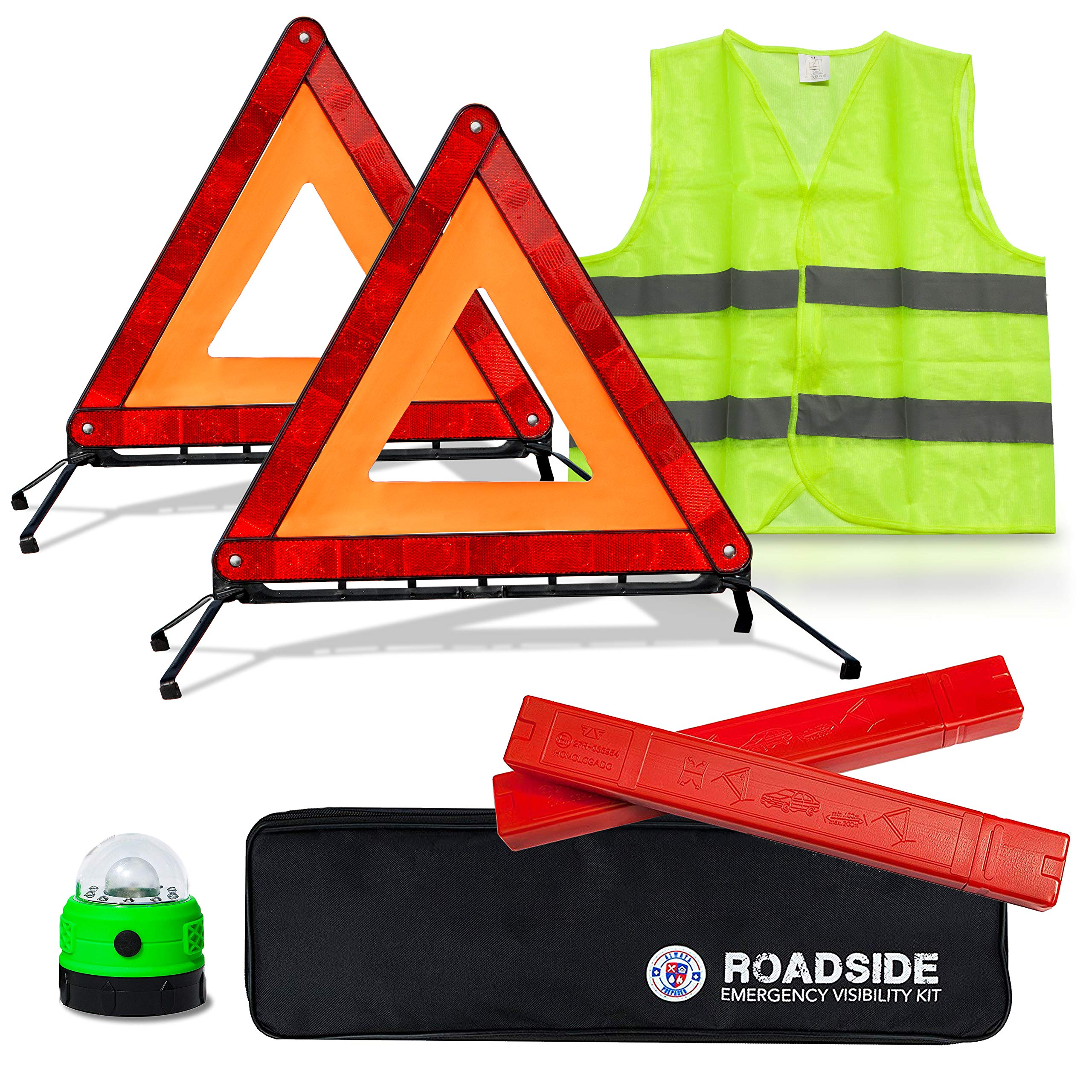 Always Prepared Reflective Car Emergency Roadside Kit for Extra Visibility - Reflective Safety Vests, Roadside Emergency Triangle & LED Light - Roadside Assistance Emergency Kit - Gifts for New Car by Always Prepared