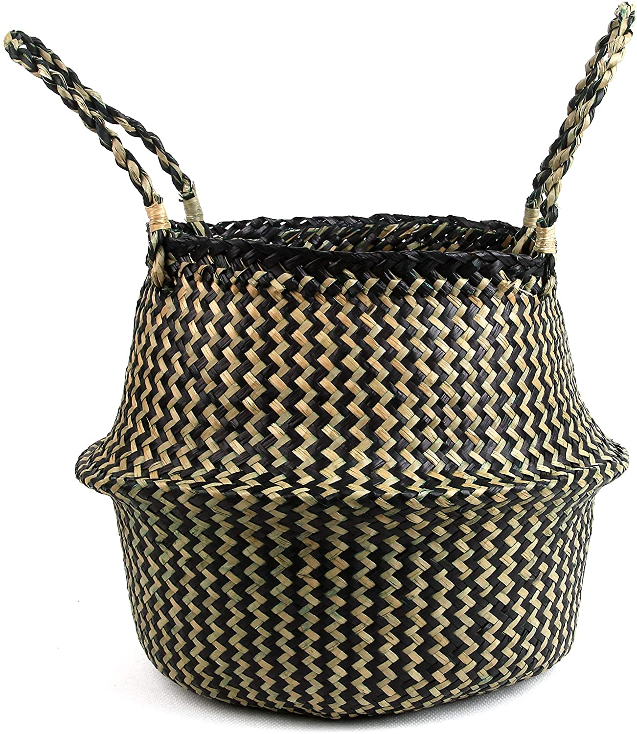 BlueMake Woven Seagrass Belly Basket for Storage Plant Pot Basket and Laundry, Picnic and Grocery Basket (Small, Black Strips)