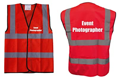 Red Hi Vis Vest Event Photographer Vest Waistcoat Safety Vest Plus A